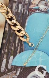 Gold Chunky Chain Round Pendant Necklace 4