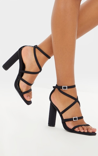 Black Cylinder Heel Diamante Buckle Strappy Sandal