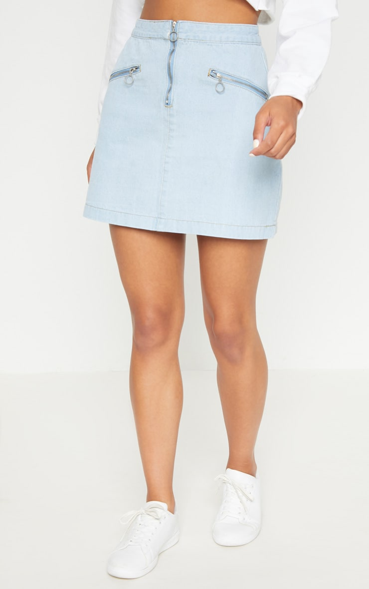 Bleach Wash Ring Pull Denim Mini Skirt 2