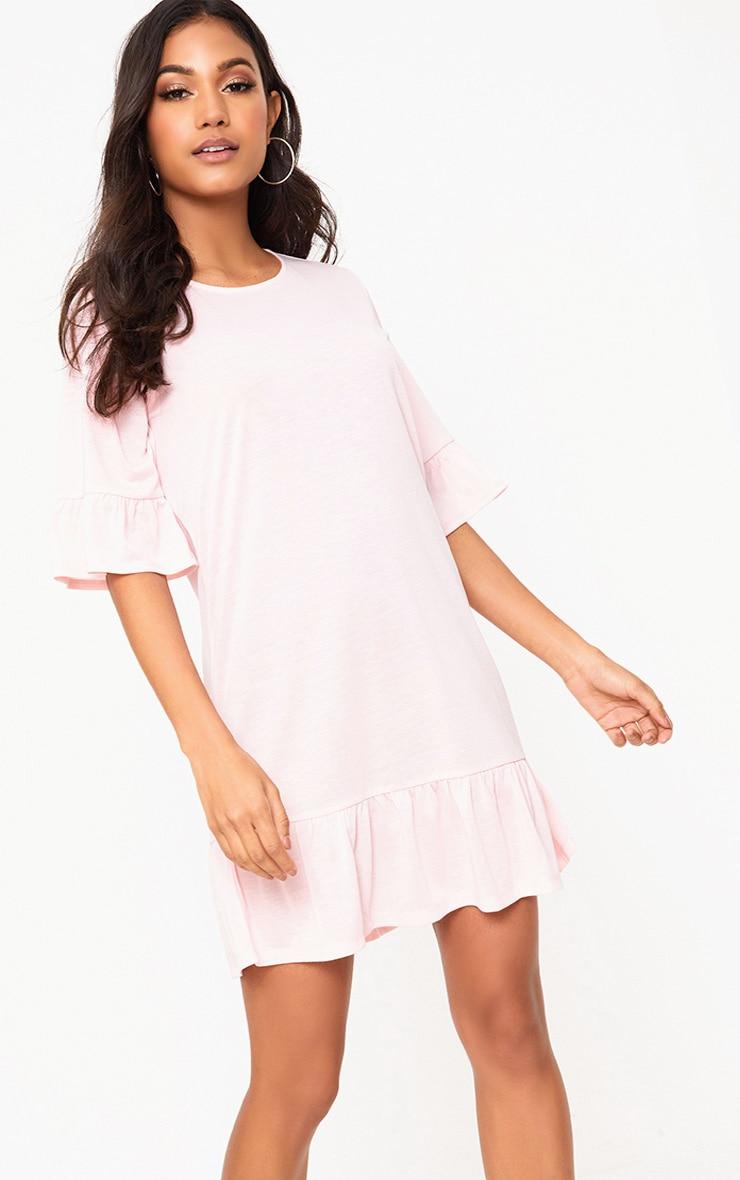 Pink Jersey Frill Hem Shift Dress 1