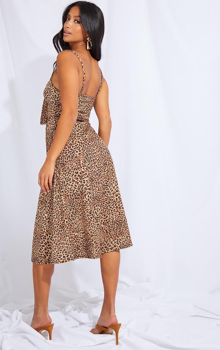 Petite Leopard Tie Front Strappy Swing Dress 2