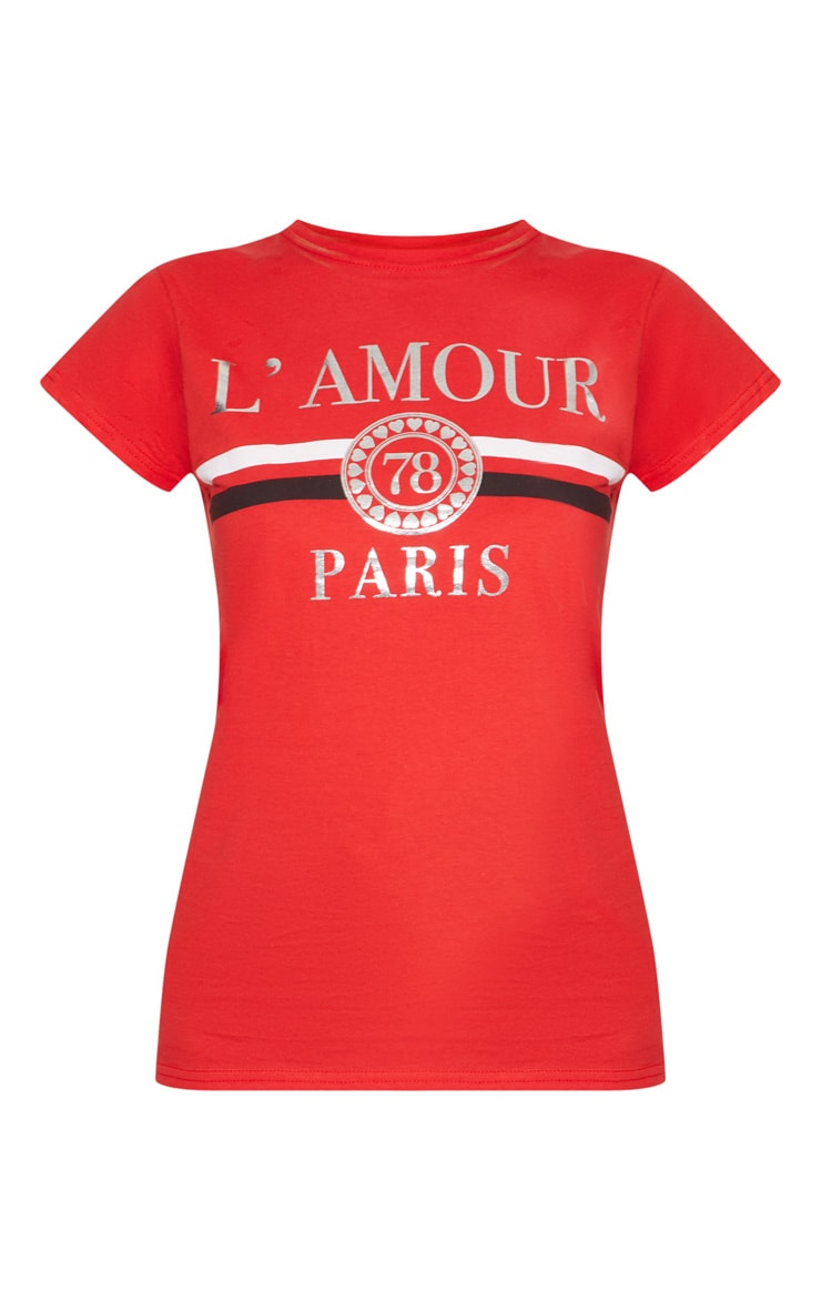Red Lamour Slogan Foil Print Fitted T Shirt 2