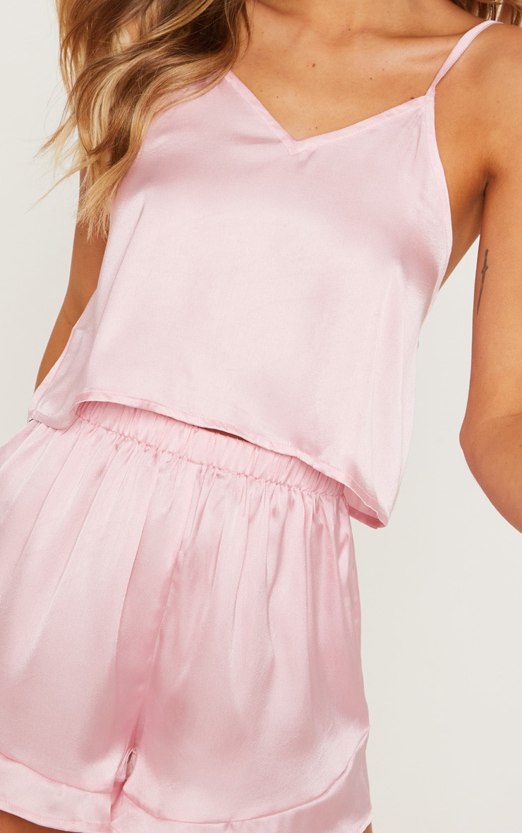 Pink Satin Frill Cami Short PJ Set 5
