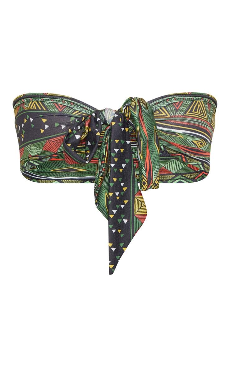 Green Tribal Print Tie Front Bandeau Bralet  3