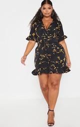 Plus Black Floral Corset Swing Dress 4