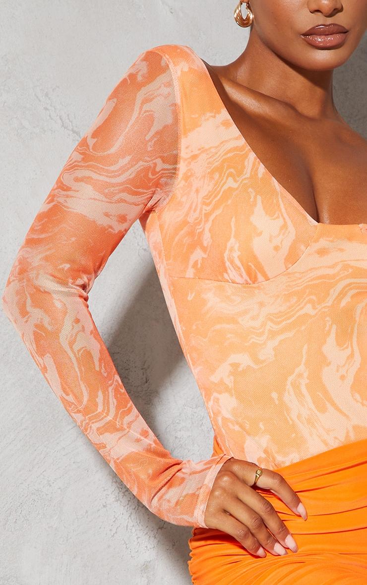 Burnt Orange Abstract Marble Mesh Print Cup Detail Long Sleeve Bodysuit 4