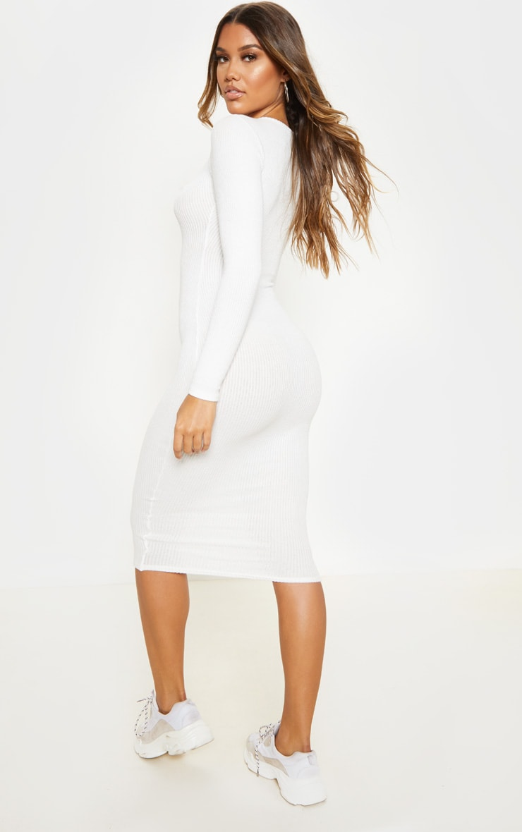 White Brushed Rib Button Front Midaxi Dress 2