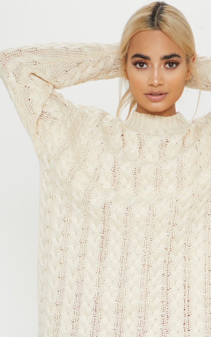 Petite Cream Oversized Cable Knit Dress 5