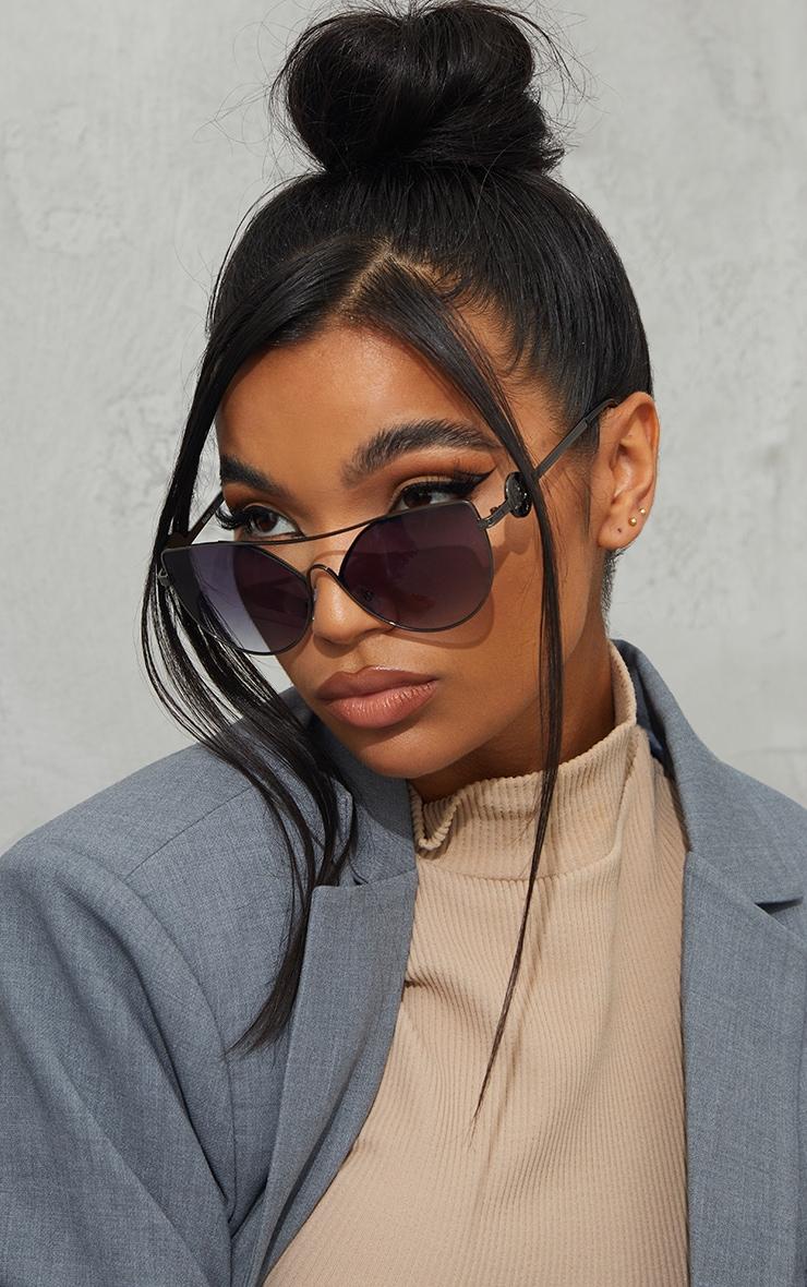 PRETTYLITTLETHING Black Branded Temple Cat Eye Aviator Sunglasses 1