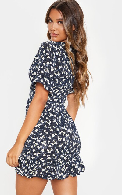 Navy Ditsy Floral Print Corset Swing Dress