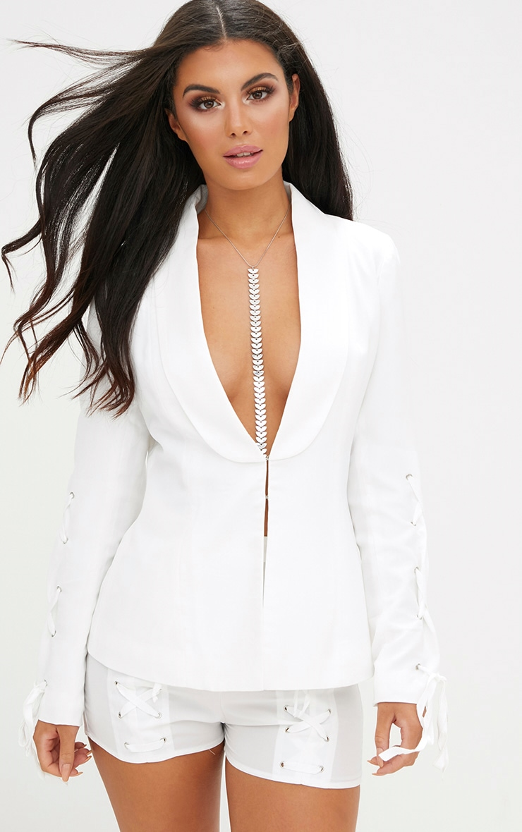 White Lace Up Sleeve Blazer 1