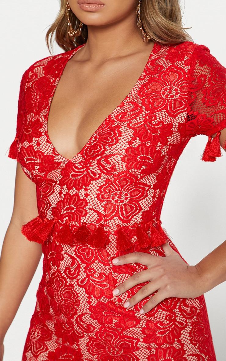 Fuchsia Plunge Lace Tassel Detail Bodycon Dress  5