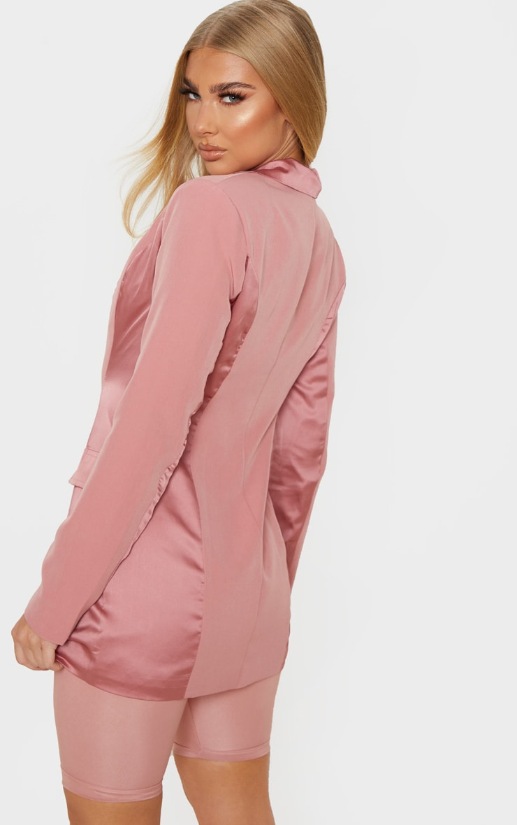 Blush Satin Contrast Fitted Longline Blazer 2