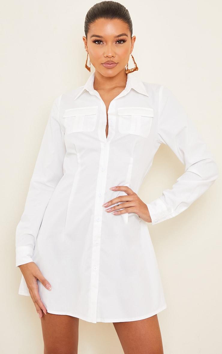 White Pocket Pleated Skirt Detail Shirt Dress 1