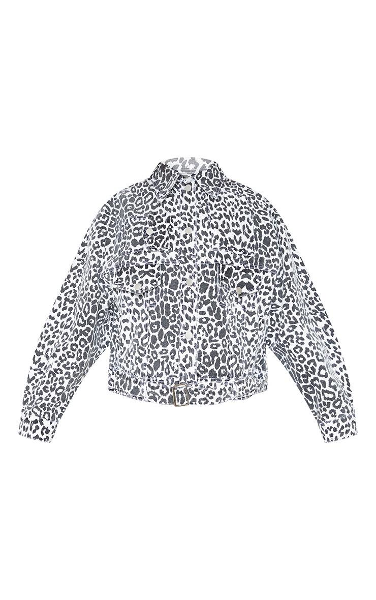 Mono Leopard Oversized Buckle Waist Denim Jacket  3