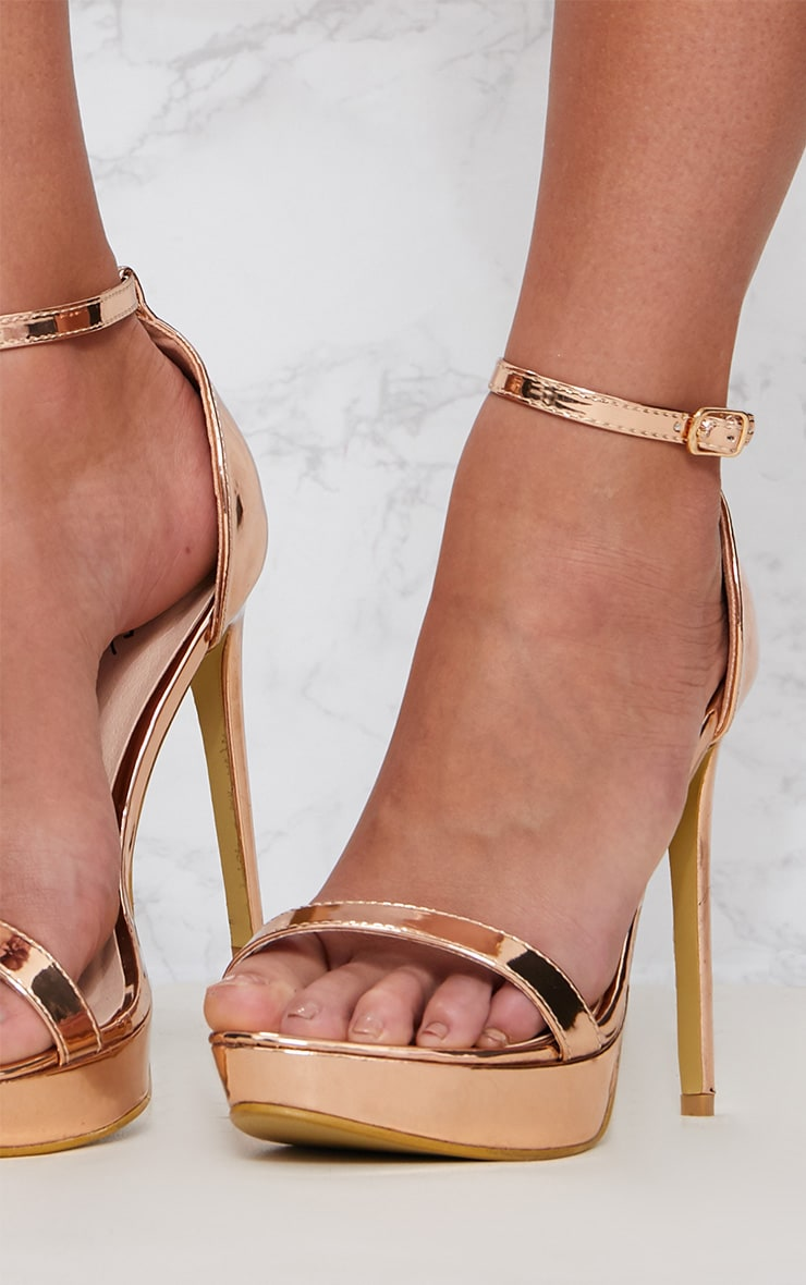 Rose Gold Platform Strap Heeled Sandal 5