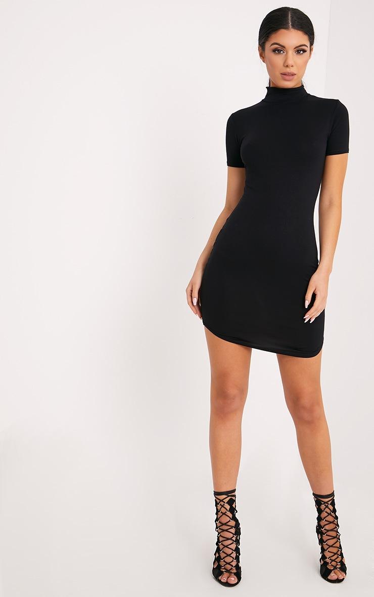 Alby robe col montant noire à manches courtes et ourlet arrondi 4