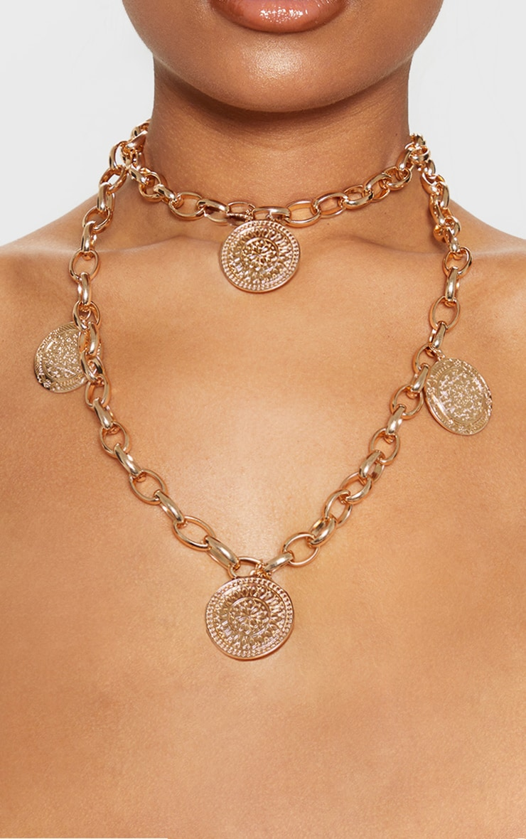 Gold Double Layer Disc Necklace 1