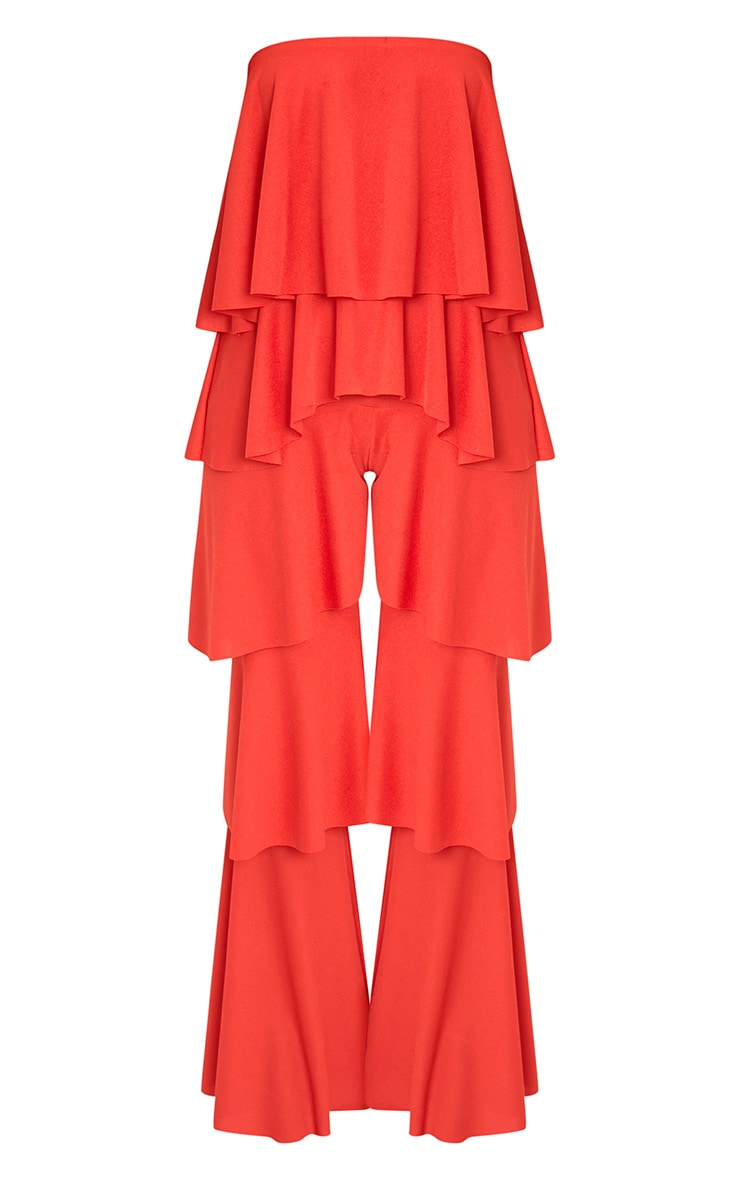 Red Bardot Frill Layer Detail Jumpsuit 3