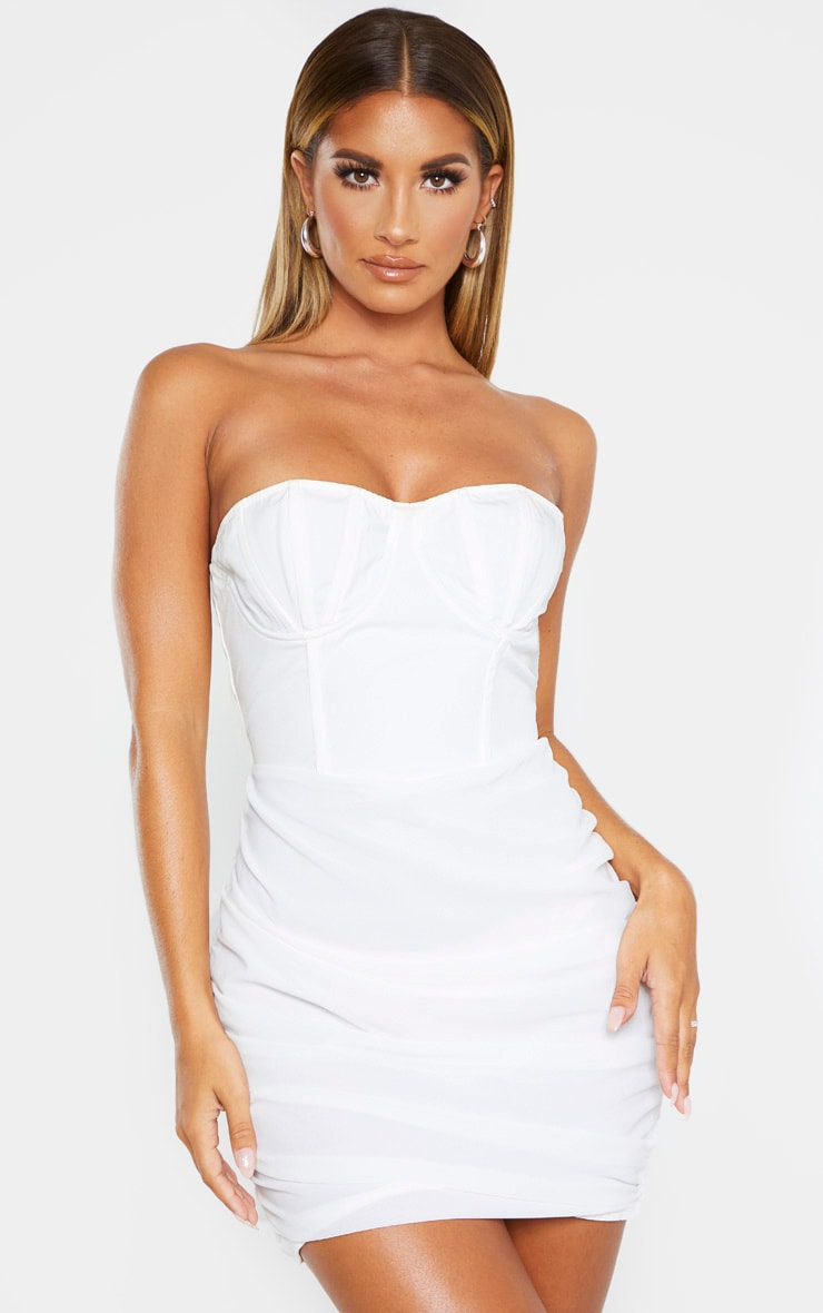 White Bandeau Binded Cup Detail Ruched Bodycon Dress 1