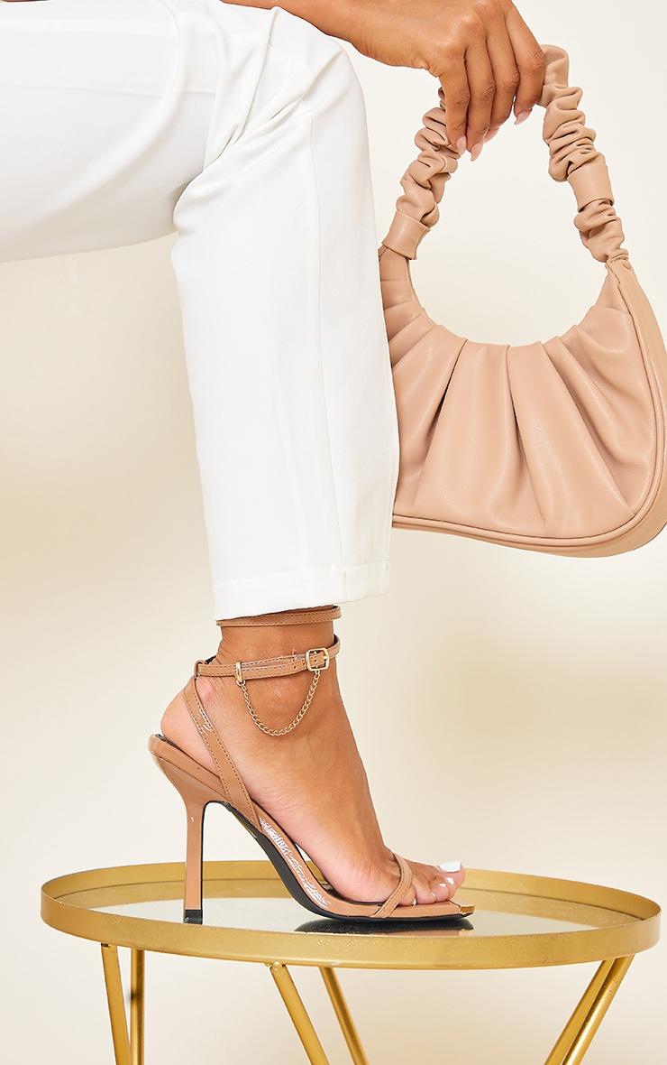 Camel Square Toe High Heel Chain Trim Sandals 1