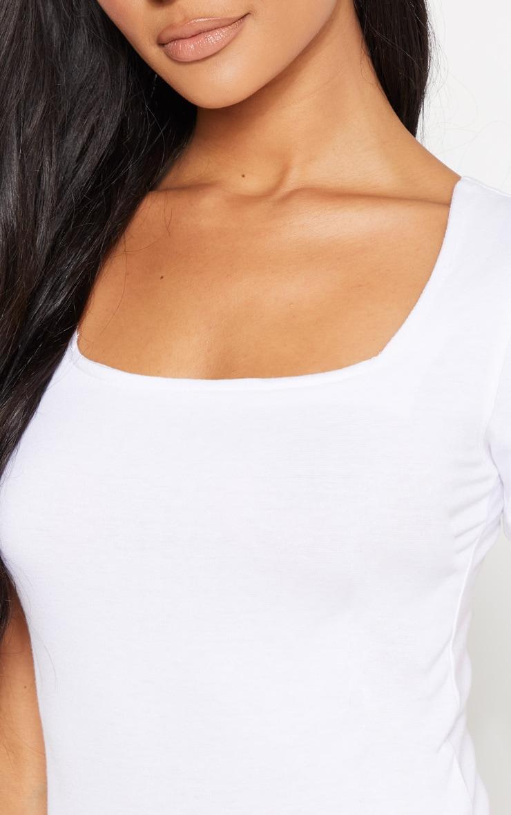 White Cotton Square Neck Bodysuit 5