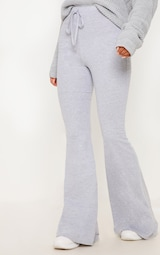 Grey Cotton Drawstring Waist Flare Pants 2