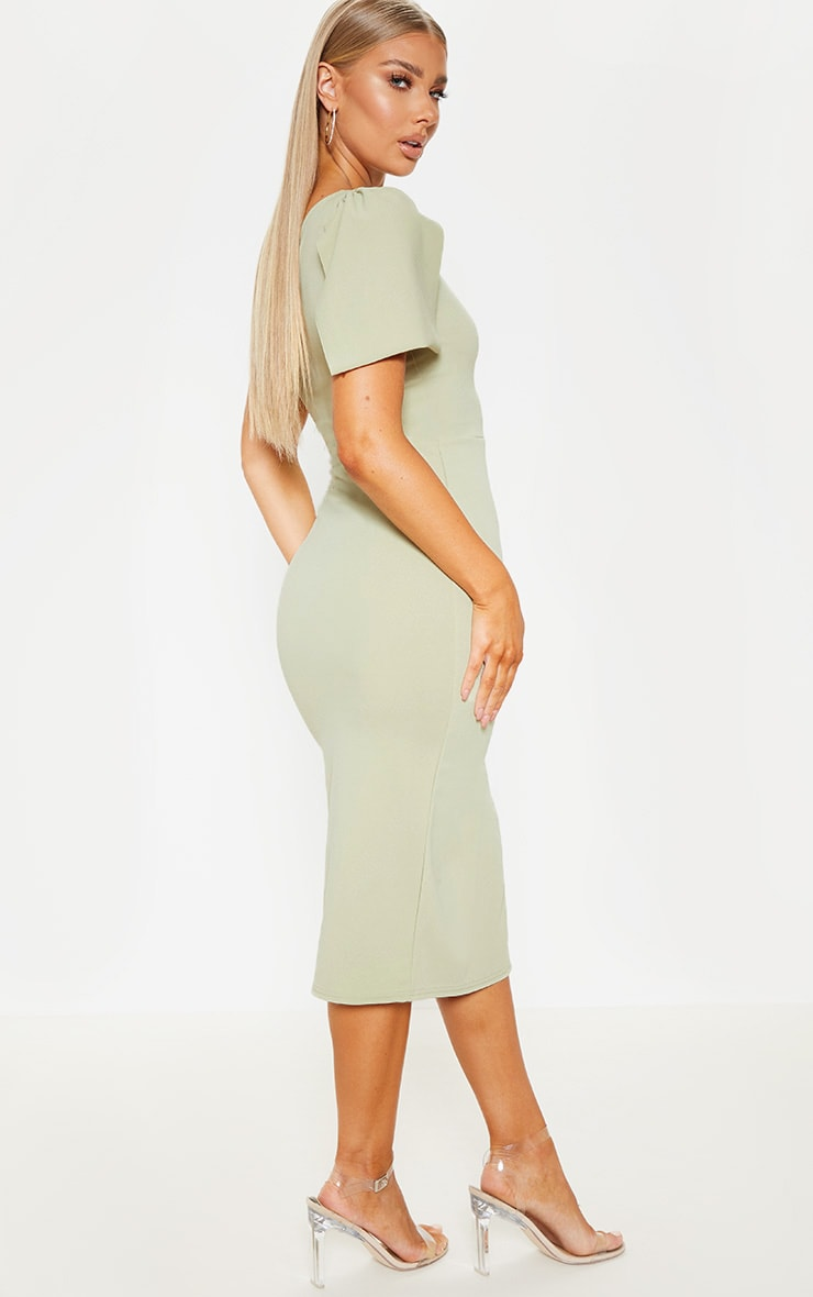 Sage Green One Shoulder Bow Detail Midi Dress 2