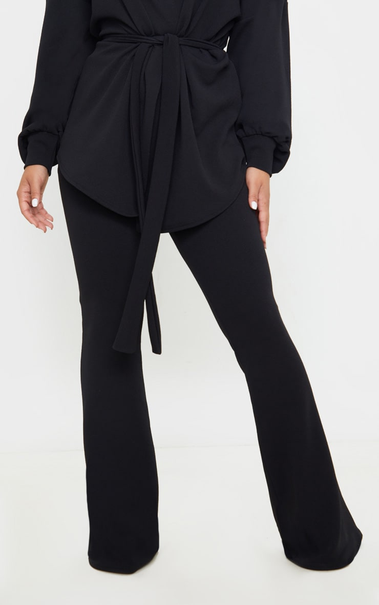 Petite Black Crepe Flared Trousers  2