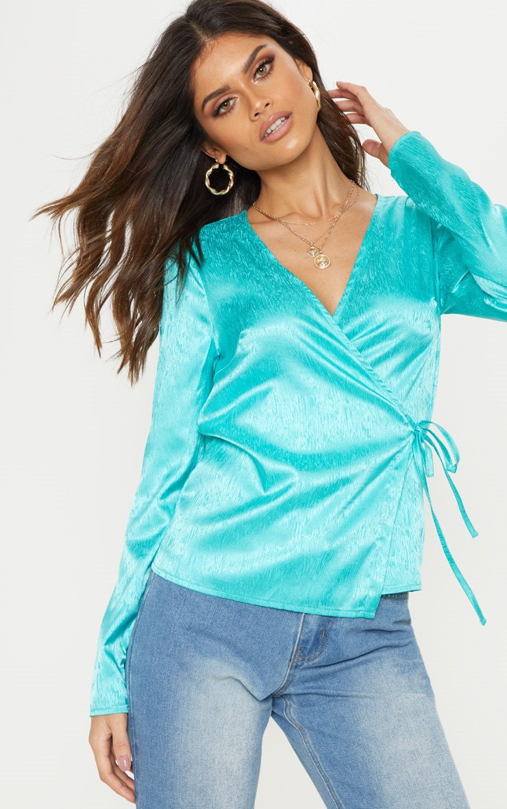Turquoise Satin Tie Detail Blouse 1