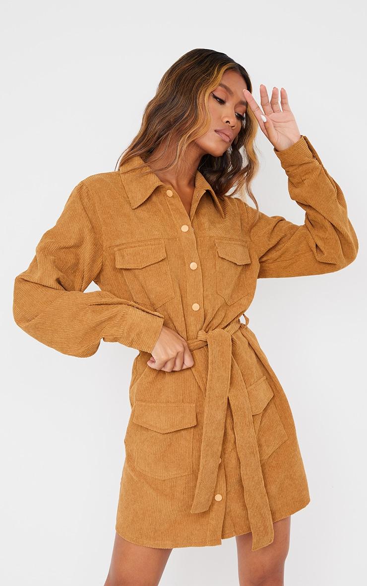 Camel Pocket Detail Popper Tie Waist Cord Shirt Dress 1