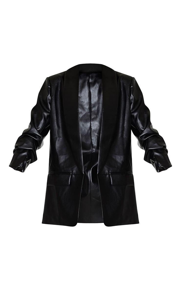 Black PU Lapel Long Line Ruched Sleeve Blazer 5