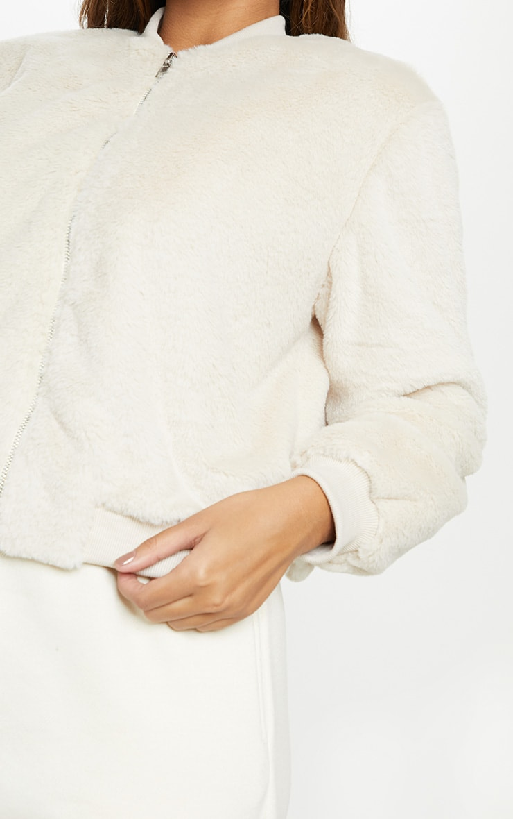 Cream Faux Fur Cropped Bomber  5