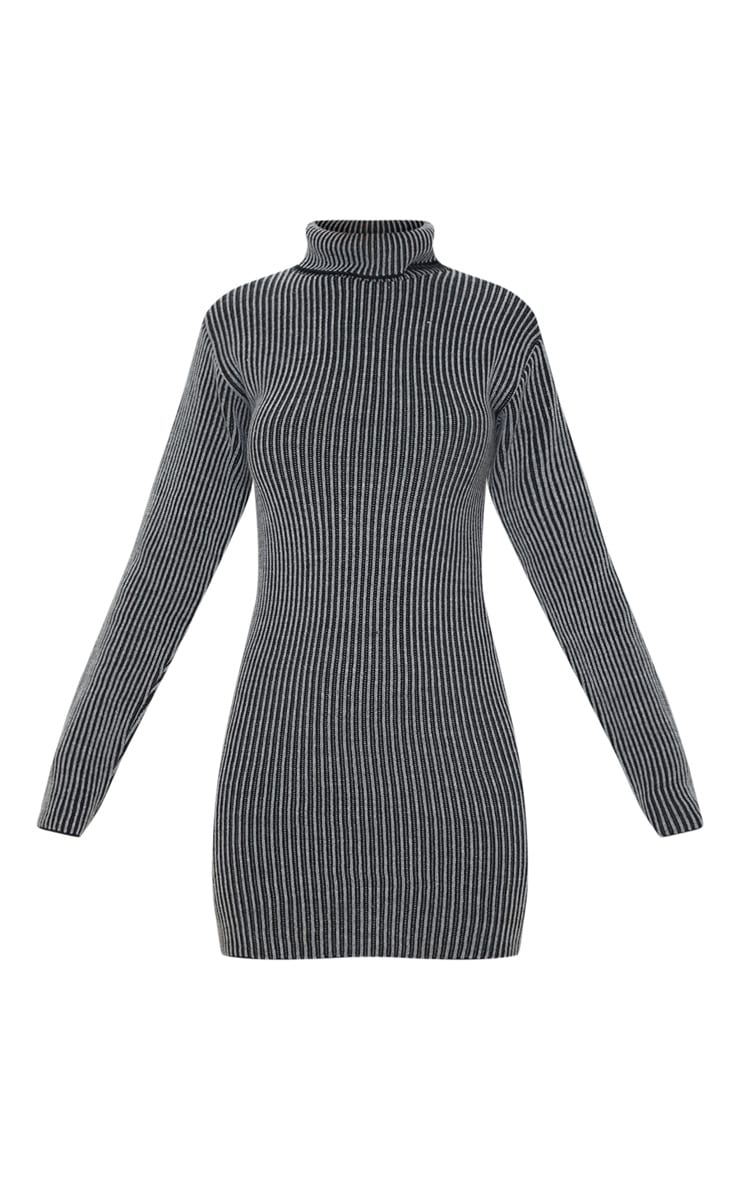Grey Two Tone Knitted Dress 3