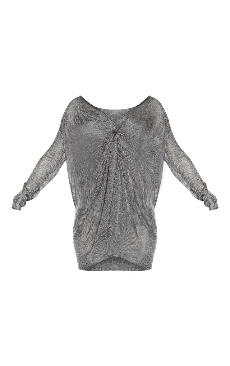 Pewter Metallic Twist Front Knitted Dress  3