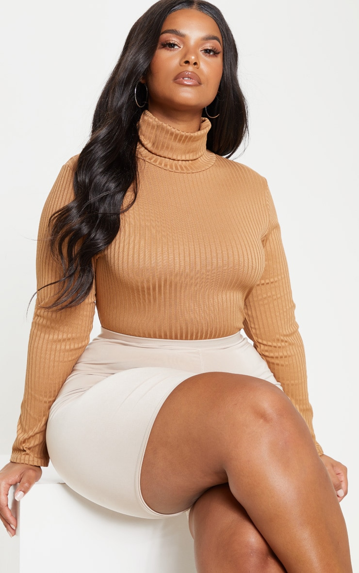 Plus Camel Rib Roll Neck Long Sleeve Bodysuit 1