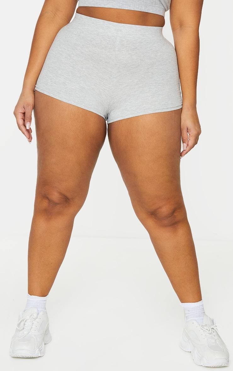 Basic Plus Grey Cotton Blend High Waisted Shorts 2