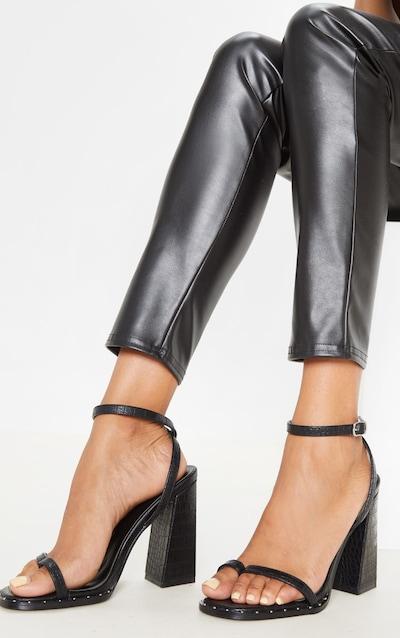 Black Toe Loop Block Heel Stud Detail Sandal