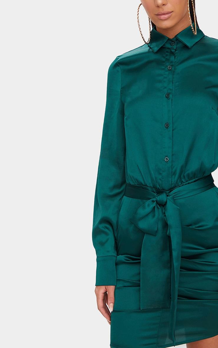 Emerald Green Ruched Front Shirt Dress 5