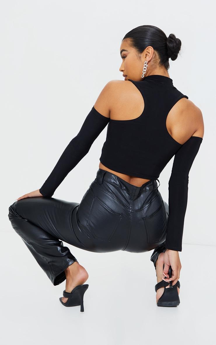Black Slinky Cold Shoulder Long Sleeve Crop Top 2