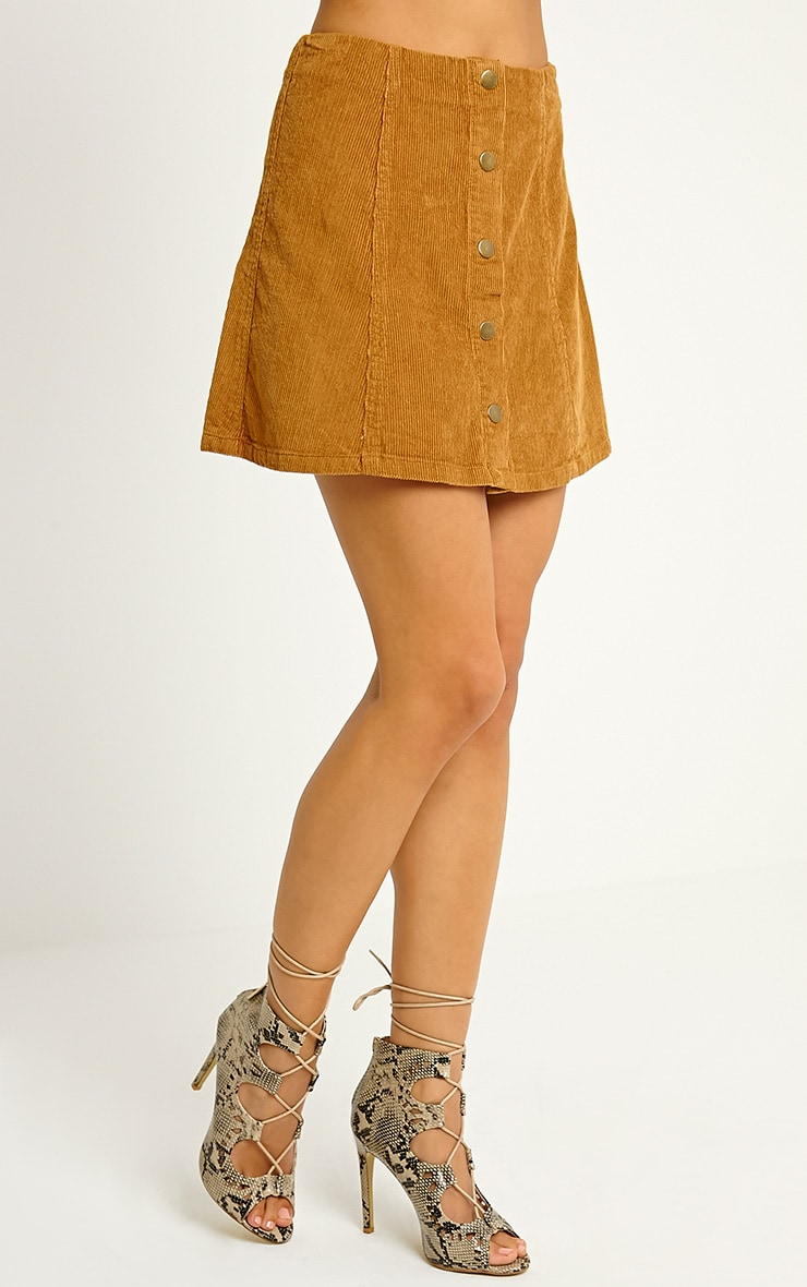 Turia Tan Cord Button Front Skirt 3