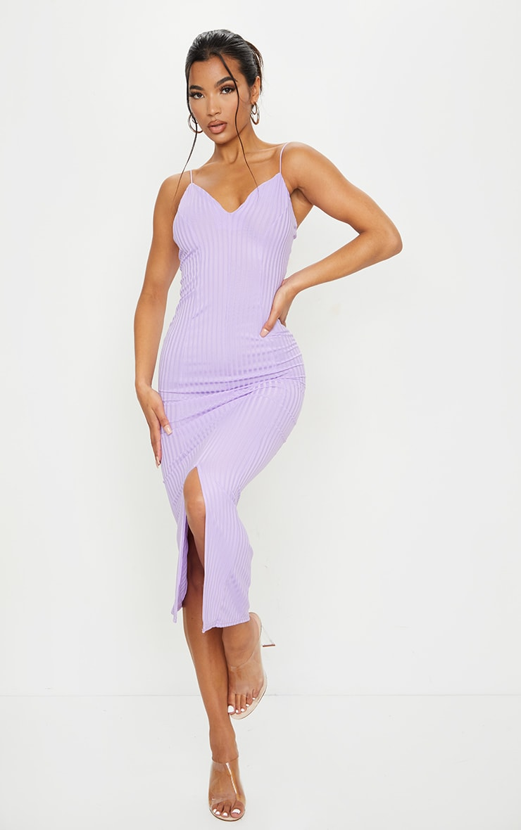Lilac Strappy Plunge Ribbed Midaxi Dress 1