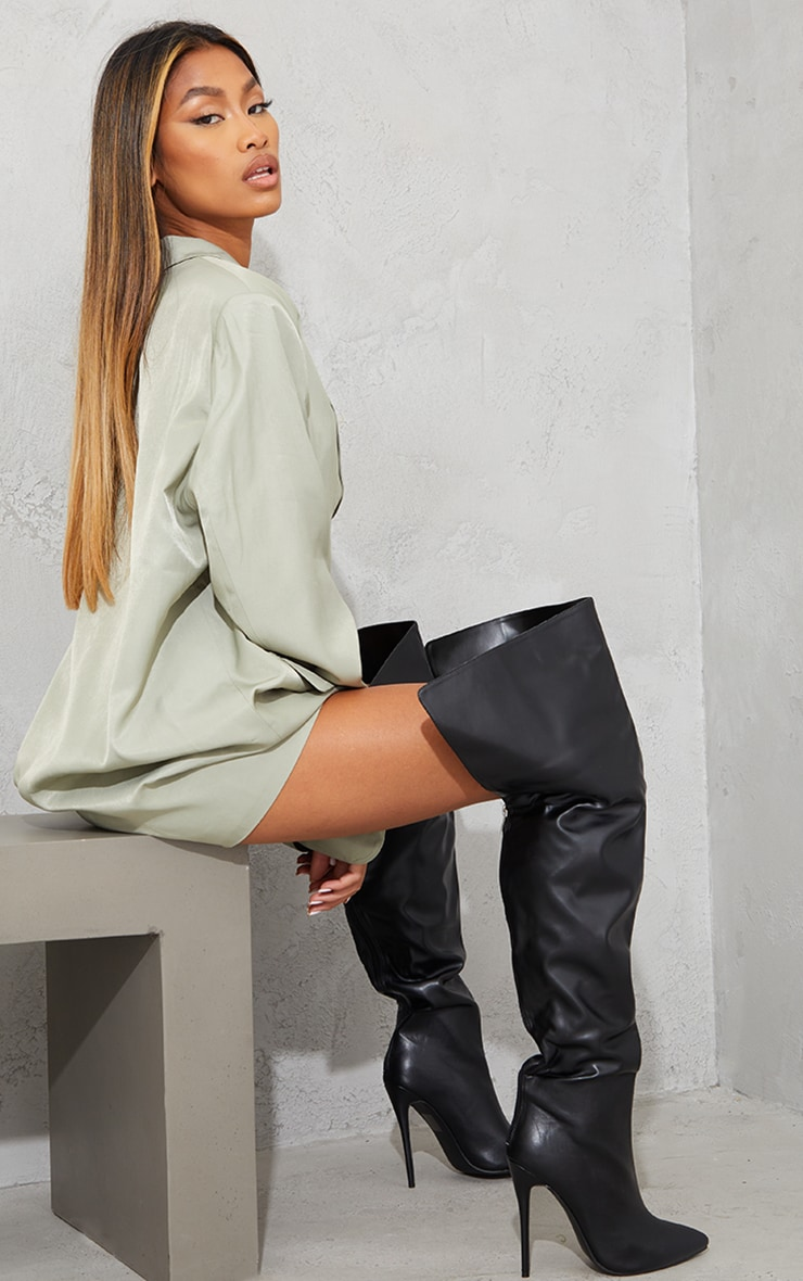 Black Faux Leather Pointed High Heel Over The Knee Boots 2