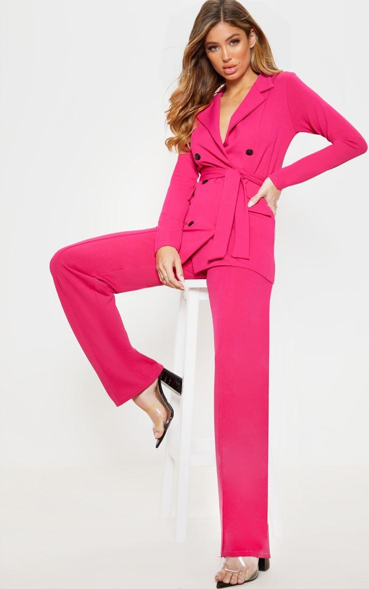 Pink Crepe Belted Longline Blazer 4