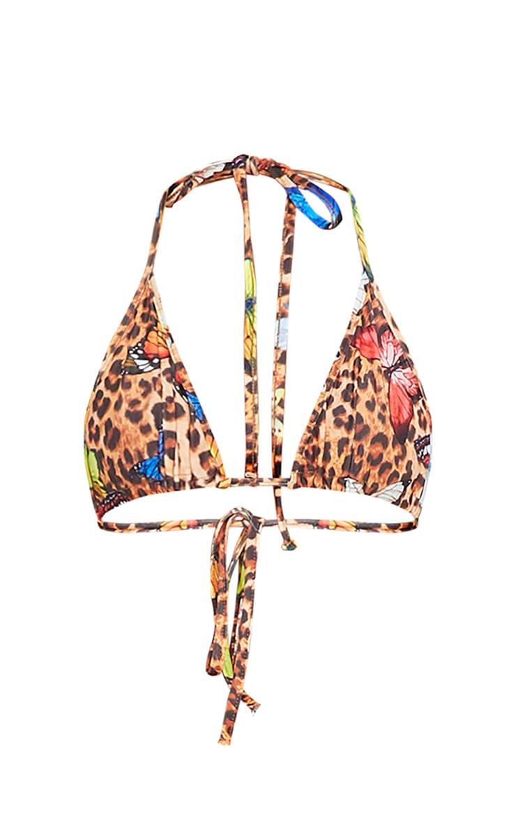 Multi Butterfly Print Triangle Bikini Top 5