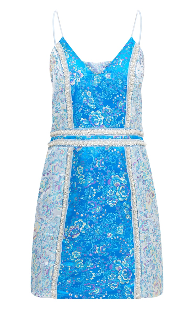 Premium Blue Contrast Jacquard Bodycon Dress 4