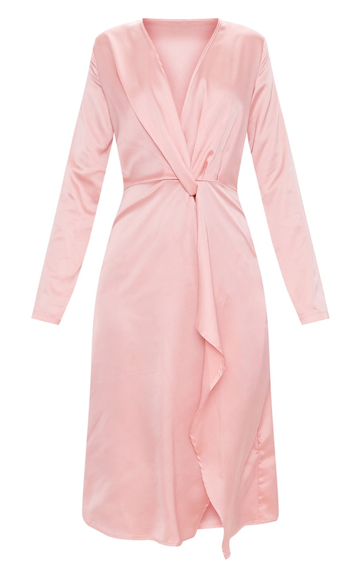 Blush Satin Long Sleeve Wrap Midi Dress 3