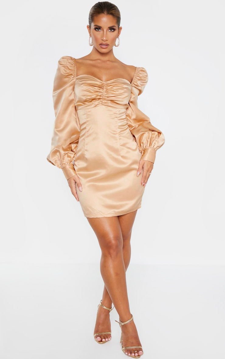 Champagne Puff Balloon Sleeve Ruched Bust Bodycon Dress 5