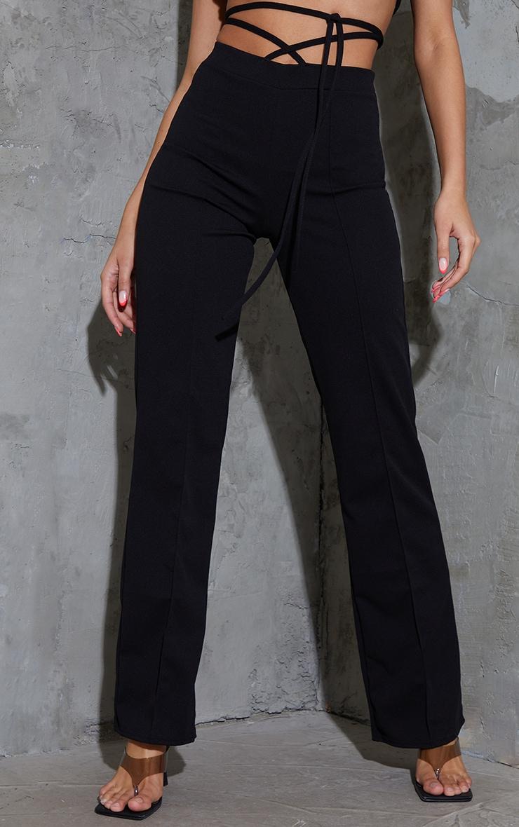 Black Tie Waist Straight Leg Trousers 2