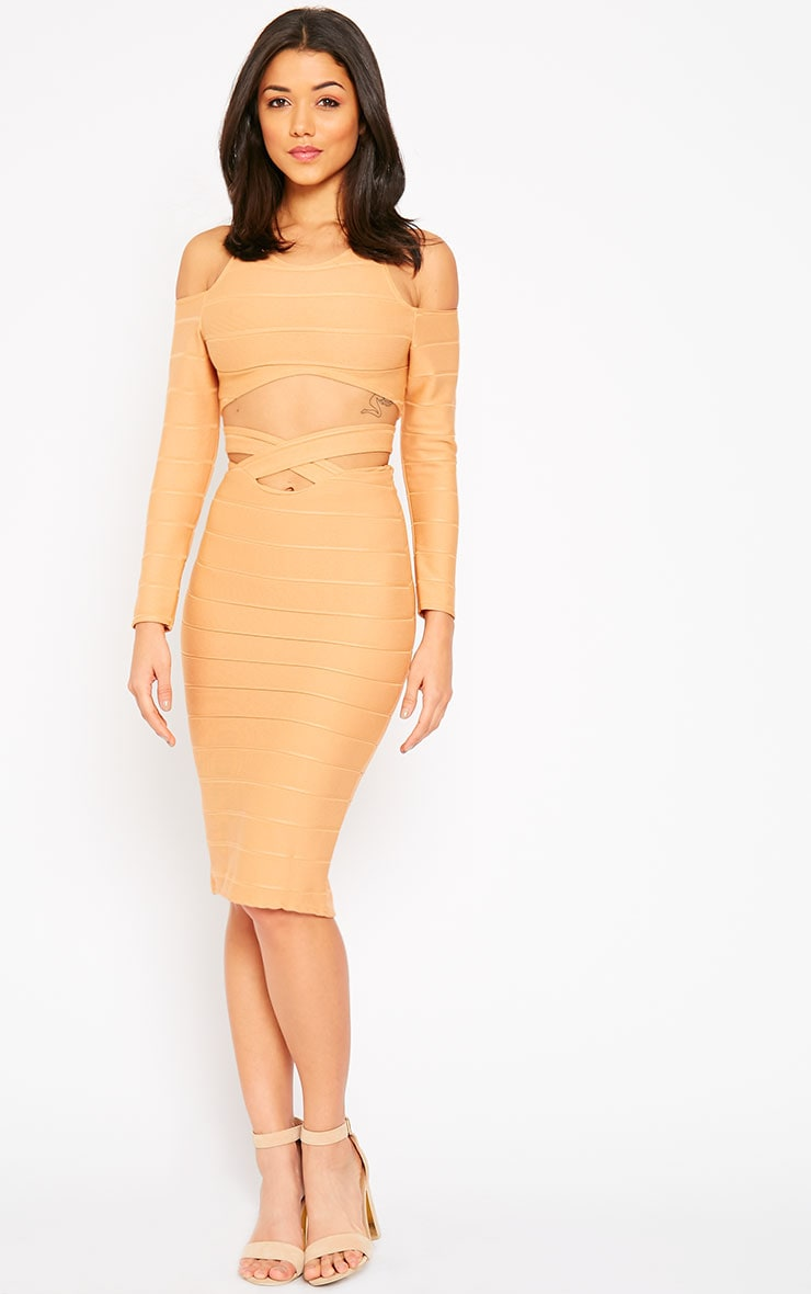 Jaimie Camel Cut Out Bandage Midi Skirt 1